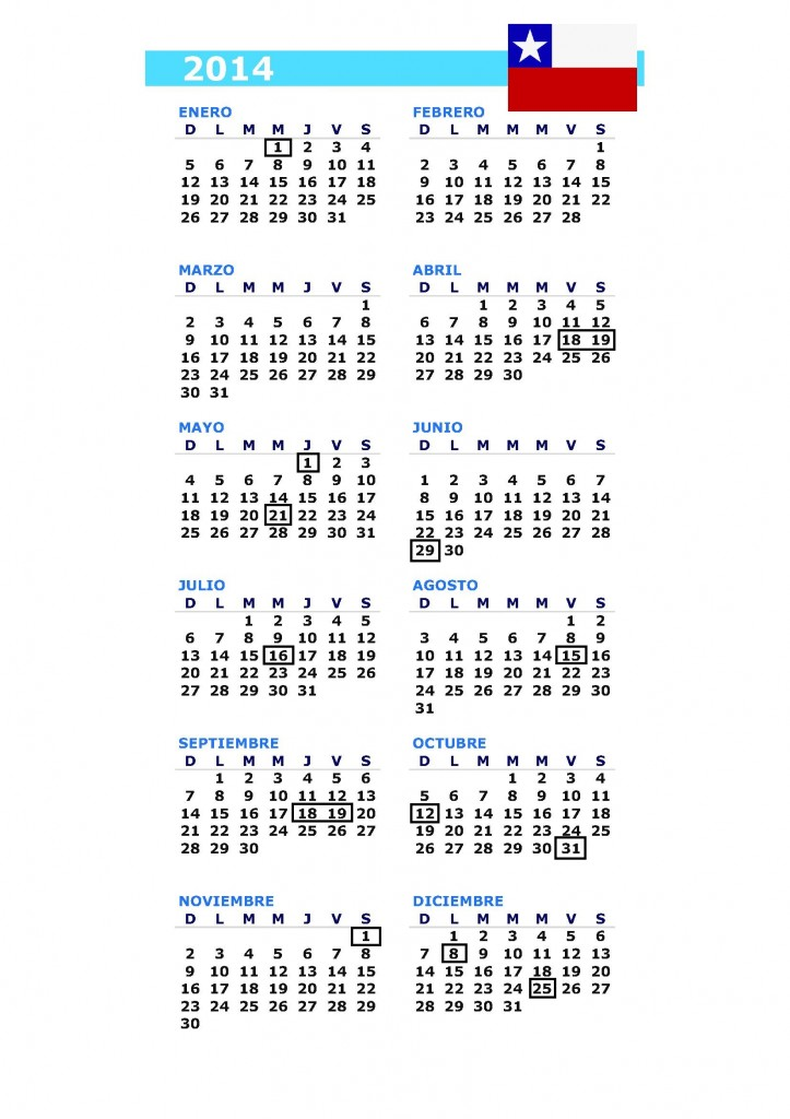 calendario 2014 chile
